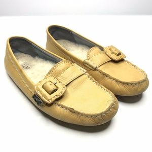 UGG Mustard Leather Slip On Buckle Flat Loafers
